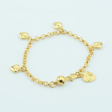 1pcs 3mm 14cm New Baby Kids Girls Gold Color Smooth Heart Bracelets Link Rolo Chain Jewelry
