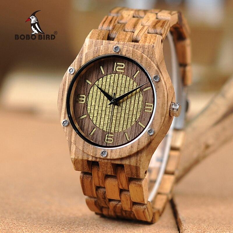 BOBO BIRD Bamboo Wooden Watches Men quartz wrist watch as gifts in wood box erkek kol saati <br>