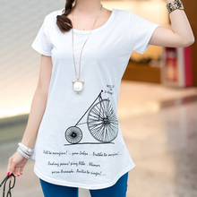 Short Sleeve Stretch Cotton Tees Tops For Woman tops and tees summer women cotton shirts 2017 t shirt women white O Neck