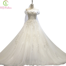 Vestido De Noiva SSYFashion Luxury  Lace Flower Beading Long Trailing The Princess Bride Sexy Off-the-shoulder Wedding Dresses