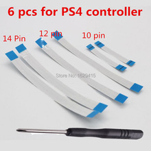 6 PCS For Sony Dualshock 4 PS4 Controller 12 pin 14pin Charging Board Power Switch Flex Cable 10pin Touch pad Flex Ribbon Cable