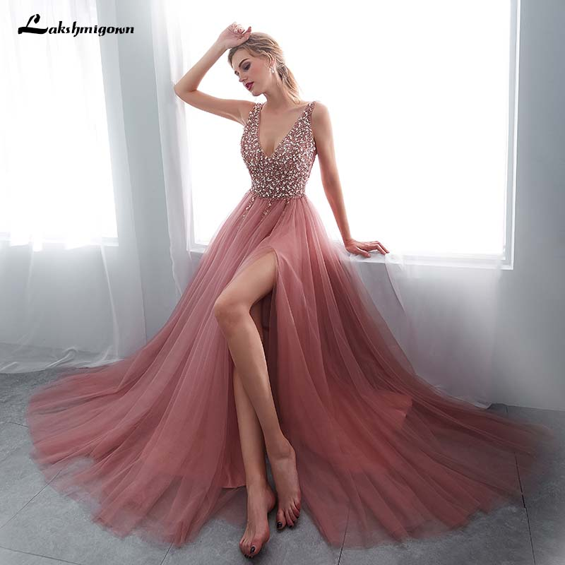 V-neck Evening Gown 2019 Sexy Crystal Beading Split Tulle Prom Dress Floor Length Evening Dress Lace Up Backless Vestido De