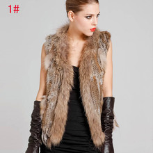 2016 New Genuine Knit Rabbit Fur Vest With Real Raccoon Fur Collar Gilet Fashion Women Winter Warm Natural Rabbit Fur Jacket