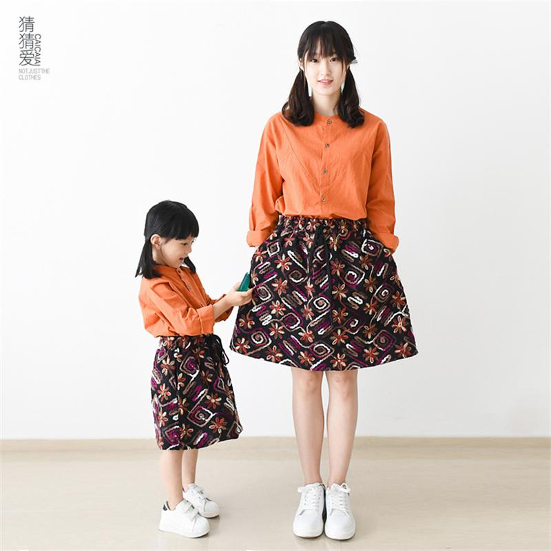 2015 Autumn new cotton bohemian embroidary ladies girl half skirt mother and daugther dress family matching clothes women skirts<br><br>Aliexpress