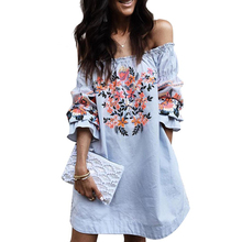 YJSFG HOUSE Casual Loose Women Summer Off Shoulder Short Dress Sexy Slash Neck Floral Print Beach Dress 2017 Ladies Party Robe