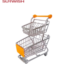 Surwish Creative Novelty Gift Double-deck Mini Supermarket Shopping Cart Storage Box(China)