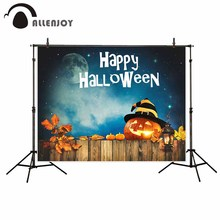 Allenjoy photography backdrop Moon sky lanterns Deciduous leaves pumpkin lights Halloween new background photocall customize(China)