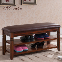 wooden shoe footstool bench with PU cushion shoe storage cabinet shelf flip-open style shoe cabinet furniture(China)