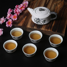 Hot Sale Kung Fu Tea Set Snow Glaze Ceramic One Teapot Six Cups of Portable Traditional Puer Tea Sets From Dehua County T05(China)