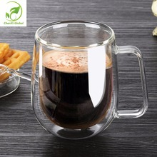 Creative Heat Resistant Double Wall Glass Cup 250ml High Quality Fashion Cups With Handle For Tea Milk Coffee Drinkware