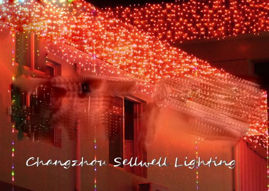 GOOD!Holiday light yard decoration 1*6m red curtain lamp H149<br>
