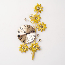 TUDA Free Shipping 8 Inches Yellow Flower Shaped Wall Clock Aluminum Plate Quartz Clock For Living Room Iron Digital Clock