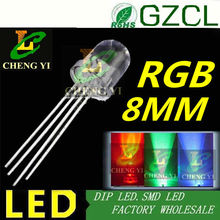 4-Legs RGB multicolor 8mm led water clear through hole led tricolor common anode(Factory supplier)(China)
