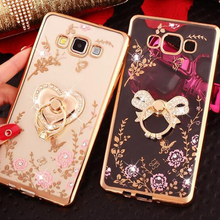 For Samsung Galaxy J3 J5 J7 2015 2016 J2 Prime Phone Cases Finger Ring Buckle Rhinestone Soft Transparent TPU Protect Back Cover