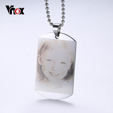 Personalized Photo Family Images Pendant Necklace ID Dog Tag Stainless Steel Cutomize Engrave Your Photos Necklace Gift