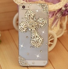 Free Shipping 2014 New Luxury Rhinestone Crystal Cross Hard Back Cover Skin Case Shell For apple iphoen 5 5s case(China)