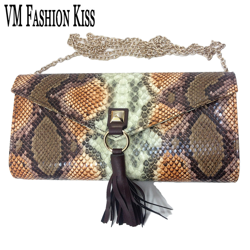 VM FASHION KISS Brand Chain Serpentine Evening Clutch Shoulder Bag Snake Pattern Sac a Main Day Clutches Party Lady Wedding Purs<br><br>Aliexpress