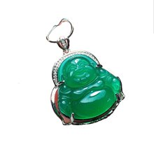 Koraba Fine Jewelry 925 Sterling Silver Inlaid Green Jade Pendant Free Shipping(China)
