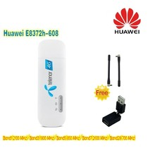 (+2pcs antenna & 360 degree rotation USB adapter)Unlocked New Huawei E8372 E8372h-608  4G LTE 150Mbps Wireless USB WiFi Modem