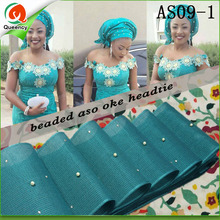 AS09Beaded Stones aso ebi headtie gele length 17.2m Multi-colored african aso oke african headtie wrapper for party or wedding.