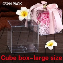 Hot Sale 10pcs festive party supplies wedding candy box plastic boxes of cube  clear box pvc box gift packaging