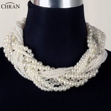 CHRAN Wholesale Brand Statement Jewelry Rhinestone Accessories Fashion Multi Layer Faux Pearl Design Choker Necklace for Women(China)