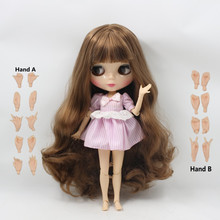 free shipping factory blyth doll 280BL9158 brown long hair big breast joint doll(China)