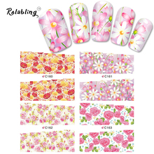 New C160-175 flower design Nail Sticker rose full cover Water Transfers Stickers Nail Decals Stickers Water Decal for decoration