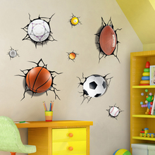 Sports style 3D Broken wall hole Basketball Rugby Football wall stickers for boy room Sofa background sticker decoration
