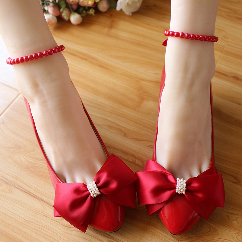 Red white bridal bow pearls banding bandage beaded handmade wedding shoes aesthetic wedding shoes<br><br>Aliexpress