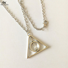 Harry Potter Necklaces Luna Deathly Hallows Triangle Circular Pendant Vintage Long Necklaces For Men Women Gifts HE-26