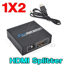 1 to 2 Ports HDMI SPlitter Switch + DC 5V 1A Adapter or USB Power Supply Cable for 1080P 3D HDTV HDCP HD Audio Video Monitors