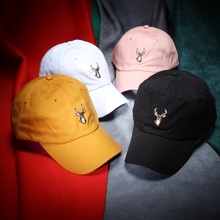 Embroidered Cute Deer Cotton Baseball Caps Unisex 2017 Spring Summer Snapback Hats Solid Black Pink Yellow Dark Grey Navy Blue