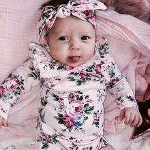 Infant Baby Long Sleeve Floral Rompers Baby Autumn Winter Clothes Romper Newborn Kids Baby Girl Jumpsuit Clothing Outfit
