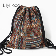 LilyHood Women Fabric Backpack Female Gypsy Bohemian Boho Chic Aztec Ibiza Tribal Ethnic Ibiza Brown Drawstring Rucksack Bags(China)