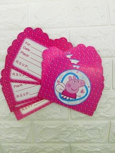 10pcs/lot Peppa Pig party invitation cards kids favor bithday invitation card birthday wedding party supplies