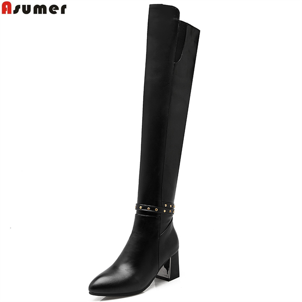 ASUMER 2018 hot sale new arrive women boots pointed toe black autumn winter ladies boots zipper buckle over the knee boots<br>