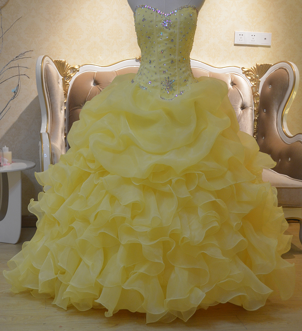 yellow quinceanera dress