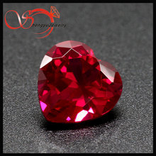Synthetic gem stone heart shape 5# red corundum can be wax casting for jewelry making