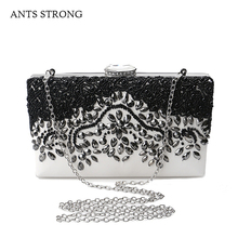 ANTS STRONG PU bead string evening bags/Handmade sewing luxury retro cortex buckle type chain handbag