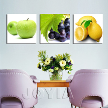 3 Panels Fruit Art Decorative Canvas Painting Wall Hanging Picture Set Fresh Apple Grape Print For Kitchen Dinning Room No Frame(China)