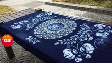 Traditional Japanese Blue Bandhani Tie dye Unique Original Design Decorations Arts / Handmade Table Cloth Many Uses / Wholesale