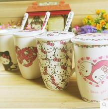 With Spoon Lid Cartoon Hello Kitty 300ML Bone Ceramic Coffee Milk Tea Mug Cup Best Christmas Gift For Girl