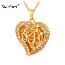 Starlord Allah Pendant Heart Fine Jewelry New Vintage Rhinestone Necklace Women Gold Color Muslim Islam Allah Necklace P910(China)