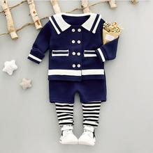 Autumn new style fashion 0 to 3 years old female baby navy long-sleeved clothes and trousers 2 PCS/set + Free gift