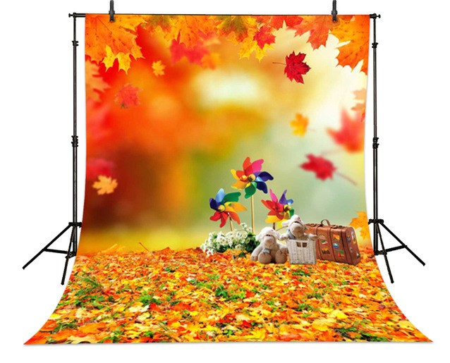 pooh backdrops  High-grade Vinyl cloth Computer printed teddy bear leaves windmill Children photography background<br><br>Aliexpress