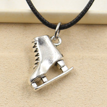 New Fashion Tibetan Silver Pendant ski boots Necklace Choker Charm Black Leather Cord Factory Price Handmade Jewlery