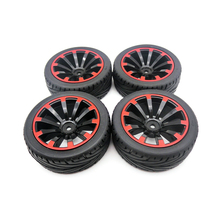 4PCS Plastic Wheel Rim and Rubber Tires Set for 1:10 Traxxas Tamiya HSP HPI Kyosho 4WD RC On Road Car