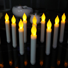 12pcs/lot Flameless Taper Candle Wholesale Thin Battery Operated Taper Candle Decorative Pillar Electric Taper Candle For Dinner(China)