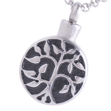 10pcs/lot stainless steel Peaceful tree pattern round wishing bottle pendants cremation jewelry Memorial ash urn IRLY011W